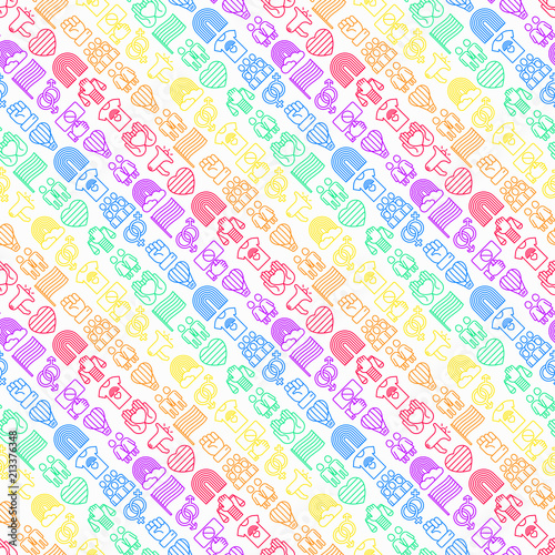 Foto op Aluminium Kunstmatig LGBT seamless pattern with thin line icons: gay, lesbian, rainbow, coming out, free love, flag, support, stop homophobia, LGBT rights, pride day. Modern vector illustration.
