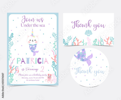 Photographie  Hand drawn cute card with caticorn,squid,coral and sea horse