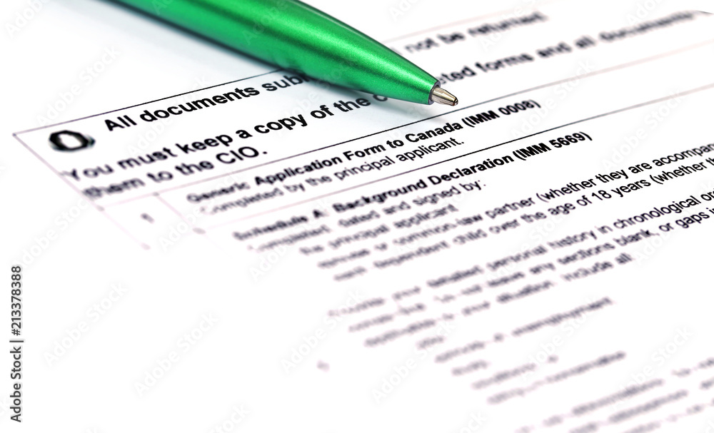 Fotografie, Obraz  Canada Visa application form