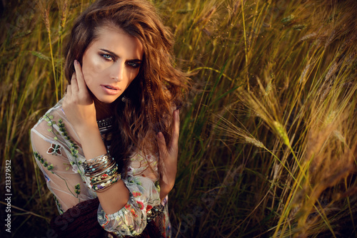 Fotobehang Gypsy beautiful girl in field
