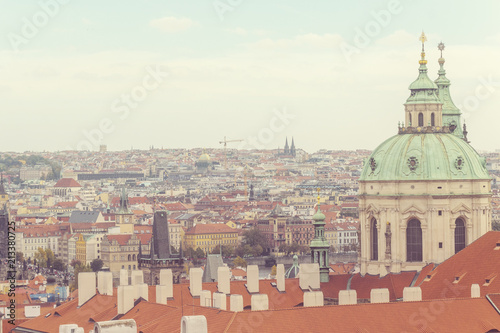 Foto op Canvas Praag Prague, Czezh Republic. Scenic autumn aerial view of the Old Town