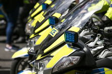 A Group Police Motorbikes Park...