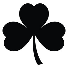 A Black And White Silhouette Of A Three Leaf Clover