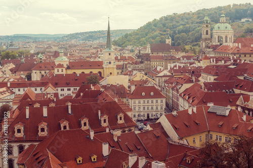 Spoed Foto op Canvas Bordeaux Prague, Czezh Republic. Scenic autumn aerial view of the Old Town