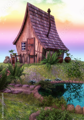 Fotobehang Purper Fairytale colorful house with a little lake.