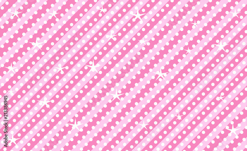 Stoffe zum Nähen Pink vector background with stripes and polka dots. Cute rose backdrop for decoration girly party. Wrapper paper design for little princess. Beautiful light abstract pattern for kids invitation