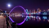 Millennium Bridge under Night Sky and Full Moon, Newcastle upon Tyne, UK
