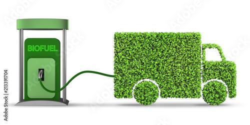 Delivery van powered by biofuel - 3d rendering Wallpaper Mural