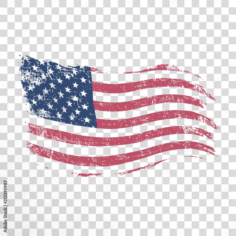Fotografia American flag in grunge style on transparent background
