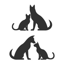 Silhouettes Of Dog And Cat Vector Illustration.
