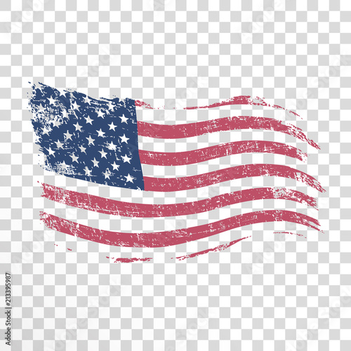 American flag in grunge style on transparent background.