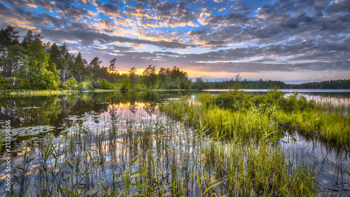 Sunset over lake Nordvattnet in Hokensas Canvas-taulu