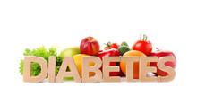 Word DIABETES And Healthy Food...