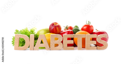 Fotografía  Word DIABETES and healthy food on white background