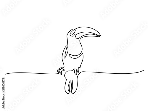 Continuous one line drawing  Tukan bird symbol  Logo of the