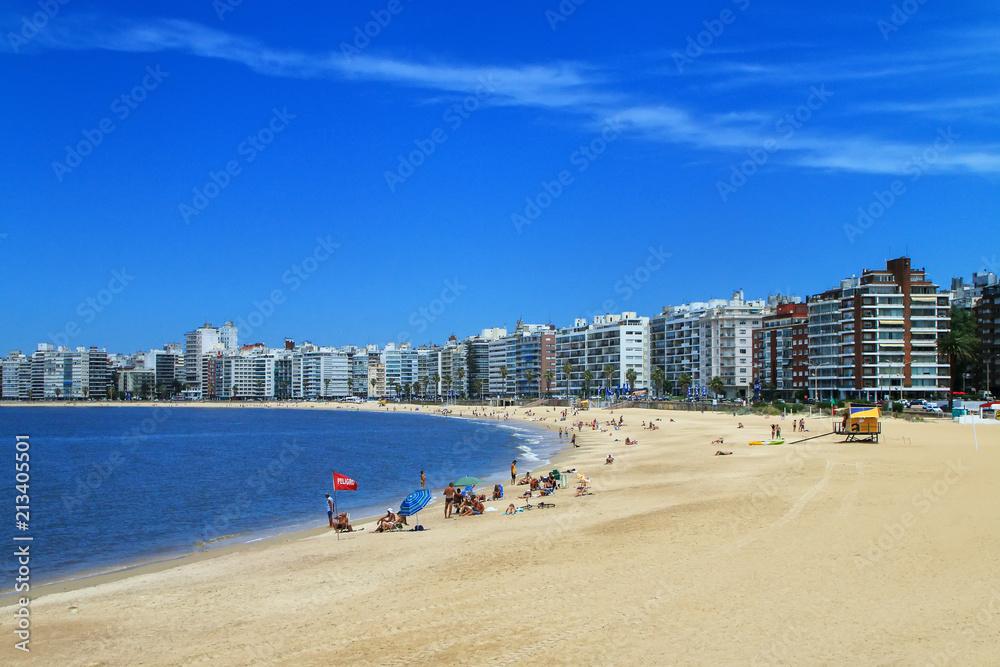 Pocitos beach along the bank of the Rio de la Plata in Montevideo, Uruguay