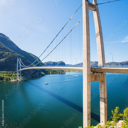 Fotobehang Brug Lysefjord bridge near Forsand, Rogaland, Norway