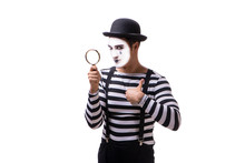 Mime With Loupe Isolated On White Background