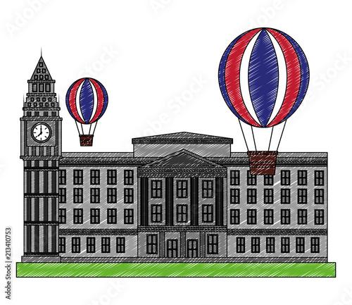Stampa su Tela buckingham palace hot air balloon flag england