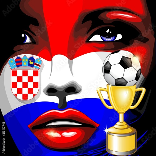 Staande foto Draw Croatia Flag Girl Portrait Champions World Cup