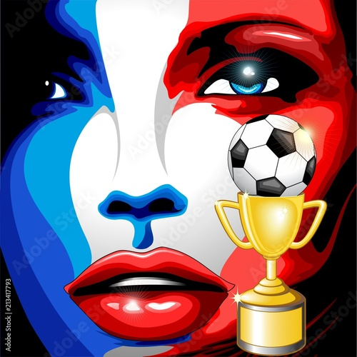Staande foto Draw France Flag Girl Portrait Champions World Cup