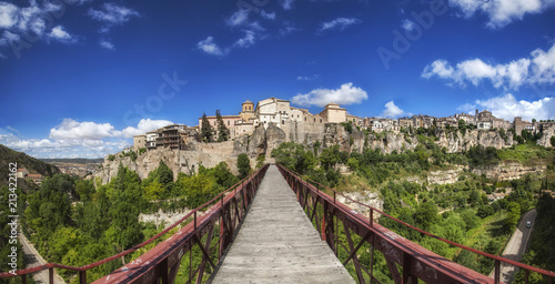180º view to Cuenca throught the San Pablo bridge, Cuenca, Spain