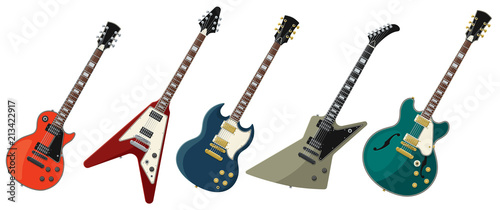 Obraz Five Electric Guitars Isolated on White Background - fototapety do salonu