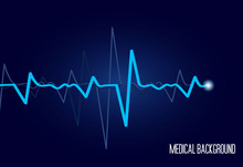 Healthcare Medical Vector Background With Heart Cardiogram. Cardiology Concept With Pulse Rate Diagram