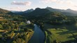 Aerial view of Tweed River and Mount Warning, Australia