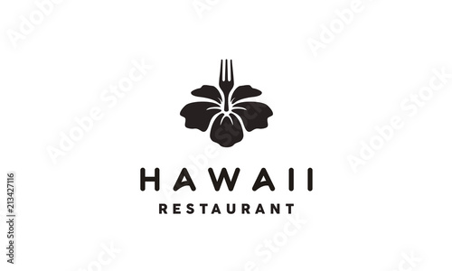 Vintage Hawaii Restaurant / Poke Bar Logo Emblem design inspiration