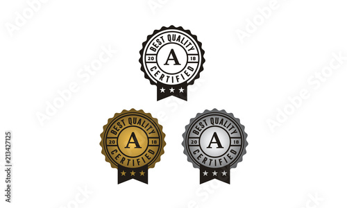 Golden and Silver Seal, Approve, Quality, Guaranteed, Certificate, Stamp logo de Wallpaper Mural