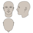 Hand drawn human head in face, profile and top views. Colorable flat vector isolated on white background. The drawings can be used independently of each other.