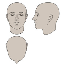 Hand Drawn Androgynous, Gender-neutral Human Head In Face, Profile And Top Views. Colorable Flat Vector Isolated On White Background. The Drawings Can Be Used Independently Of Each Other.