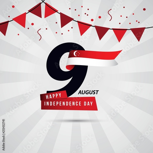 Photo  Happy Singapore Independence Day 9 August Vector Template Design