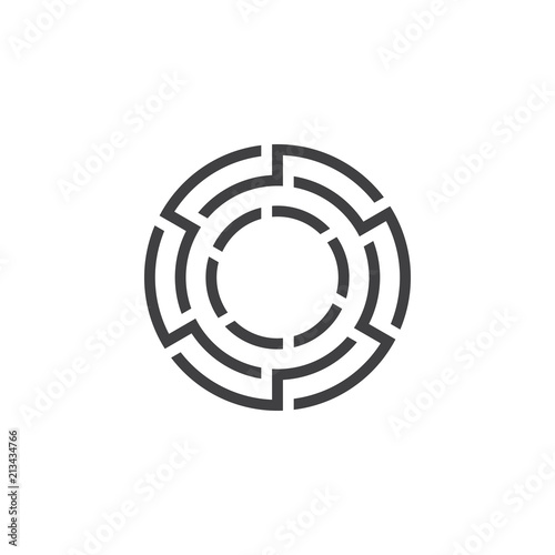 Maze circle logo or icon simple minimalist monoline lineart