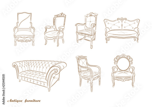 Valokuvatapetti Set of antique furniture .Armchair, sofa, vector