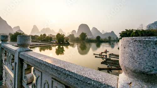 Aluminium Prints Dark grey landscape the bridge Guilin lijiang river,Guangxi, China.
