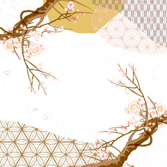 Naklejka Japoński Japanese template vector. Cherry blossom background. Geometric pattern.