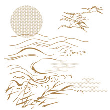 Japanese Template Vector. Gold Crane Hand Drawn Background. Wave Pattern.