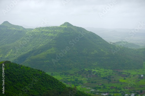 Fototapety, obrazy: Green landscape surrounded by hills, mountains in monsoon season