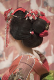 Maiko or geisha in red kimono back coifed hair brooch with patterns of red and white plum blossoms on japanese screen background.