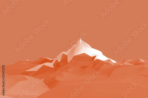 Papiers peints Corail Low poly background with the image of high mountains against the sky. 3d illustration