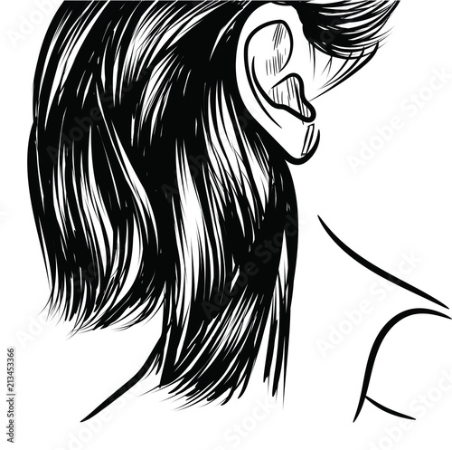 Loose Long Ponytail With Black Hair Fashion Illustration