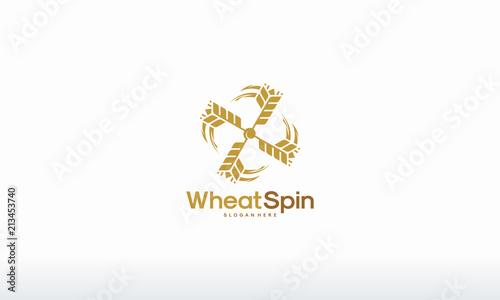 Stampa su Tela Spin Wheat logo designs, Bakery, bakehouse logo or label
