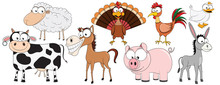 Farm Animals/ Livestock - Collection Of Funny Vector Clip-arts (cow, Sheep, Horse, Turkey, Rooster/cock, Goose, Pig, Donkey)