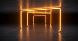 Fototapeta Perspektywa 3d - Futuristic Sci Fi Orange Neon Tube Lights Glowing In Concrete Floor Room With Refelctions Empty Space 3D Rendering