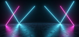 Futuristic Sci Fi Blue And Purple Neon Tube Lights Glowing In Concrete Floor Room With Refelctions Empty Space 3D Rendering