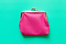 Pink Wallet On Turquoise Backg...