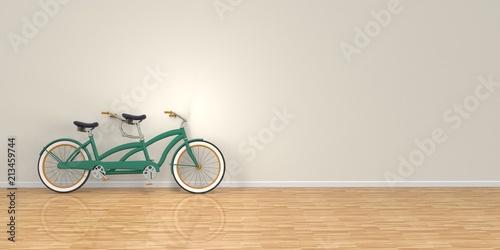 Photo Bici tándem en pared con suelo de madera