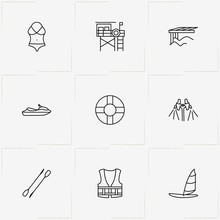 Water Sport Line Icon Set With Rowing Paddle , Sailing Boat  And Water Scooter